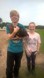 Xander and Jenna and chicken
